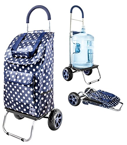 dbest products Trolley Dolly, Blue Polka Dot Shopping Grocery Foldable Cart