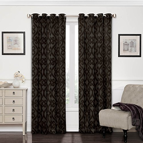 Eggplant Curtains (Eclipse 12427052084AUB Patricia 52-Inch by 84-Inch Blackout Grommet Single Curtain Panel, Aubergine)