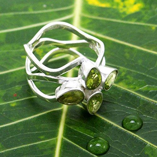 Banithani925 péridot argent pierre femmes indien nouvelle mode anneau de bijoux