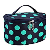 DZT1968 Handle Round Dot Large Cosmetic Bag Travel Makeup Organizer Case Holder With Mirror (Green) by DZT1968