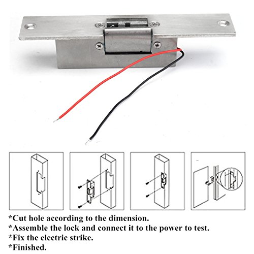 Easyflower Add Much Fun Electric Lock 12V Electric Strike Lock Fail Safe NC Cathode for Access Control Wood Metal Door by Easyflower (Image #6)