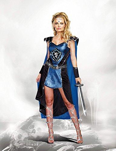 Dreamgirl Women's Sexy Royal Warrior Costume, King Slayer Female, Blue, Large ()