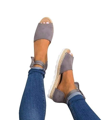 b43e5bd4f976 Fashare Womens Espadrilles Tie up Flat Sandals Peep Toe Classic Espadrille  Shoes