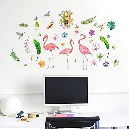 kuamai Estilo Nórdico Rojo Verde Flamingo Plantar Flores Pájaro Pegatinas Decorativas para Paredes Salón Dormitorio Armario