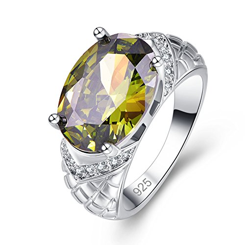 Veunora Graduation Gift Ladies' 925 Sterling Silver Gorgeous 10x14mm Oval Cut Peridot Filled Ring Size 9