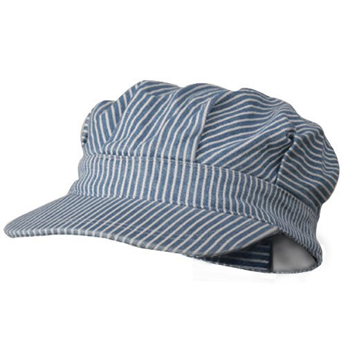 Train Conductor Hat For Adults (Wholesale Conductor Cap Stripes Blue White - 21844)