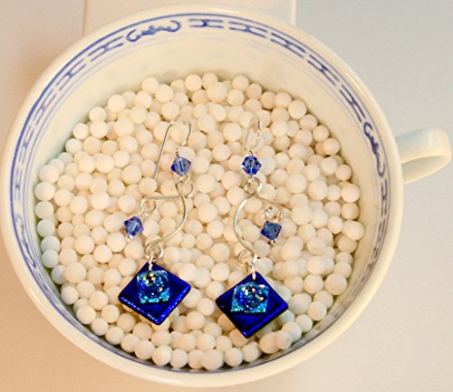 Bright blue fused glass earrings, sterling silver filled wire accents in a mirrored image