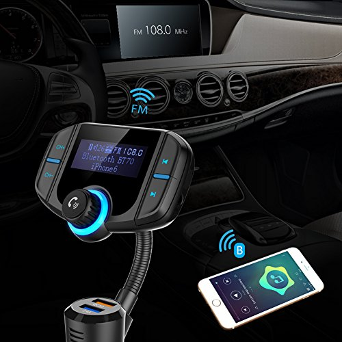 "Bluetooth FM Transmitter with Quick Charge 3.0, Wireless Car Radio Transmitter Kit with 1.7"" LED Display, Dual USB Ports, compatible with iPhone, Samsung, etc, Hands Free Kit by Talent Star (Image #6)"