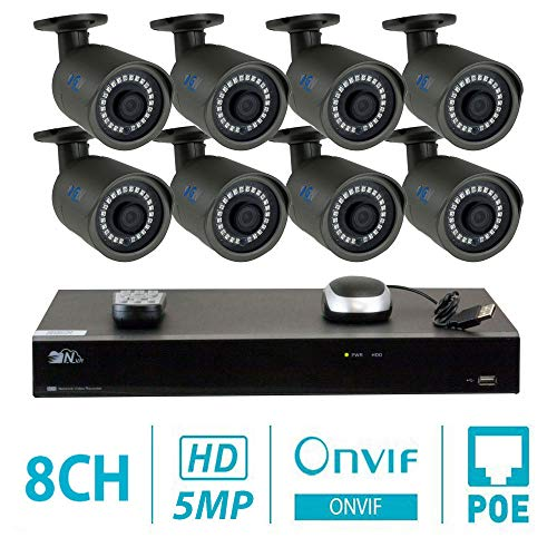 GW Security H.265 Complete CCTV Security Camera System - 8 Pcs 5MP 1920P 3.6mm Wide Angle POE Weatherproof Indoor/Outdoor Bullet IP Cameras with 100ft IR Night Vision, 2TB Hard Drive Built-in ()