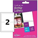 Avery HBL02 Etichette Rettangolari per Bottiglie di Birra, 12 ff, Stampanti Laser e Inkjet, 90x60, Bianco