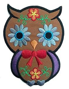 Parches - búho animal niños - marrón - 6.7x9.0cm - termoadhesivos bordados aplique para ropa
