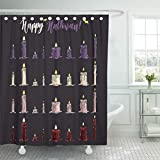 "Emvency 66""x72"" Shower Curtain Waterproof Bathroom Home Decor Pink Autumn Colorful of Halloween Candles with Hand Lettering Headline Purple Bat Polyester Fabric Adjustable Hooks Set"