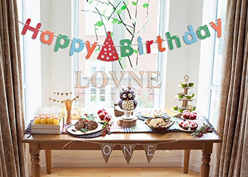 Lovne Colorful Hanging Happy Birthday Banner for Party Decoration Alphabet Decorative Paper Banner Party Cardboard Set Decoration for Baby Boy Girl Happy Birthday Party (Personalized Banners For Birthdays)