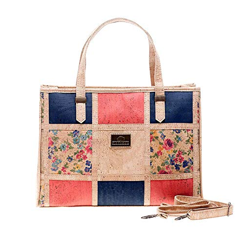 Montado Vegan Cork Handbag with Patchwork Pattern (Blue, Red, Flowers)