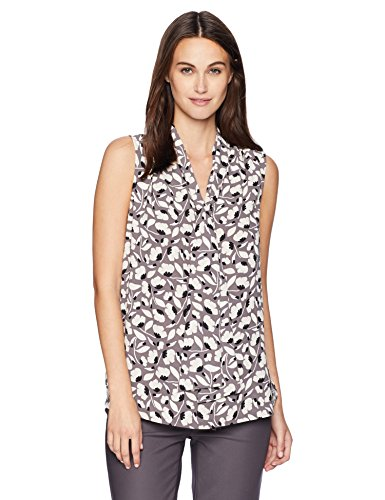- Anne Klein Women's Sleeveless Tie Front Blouse, Nantucket Grey/Oyster Shell Combo, L