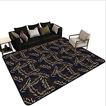 Image of Bamboo,Floor Mat Entrance Doormat 60'x 72' Tropical Pattern Leaves Carpet mat Home and Kitchen