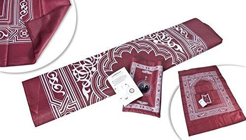 [해외]Hitopin 휴대용 방수 무슬림기도 매트 나침반이 달린 붉은 색 빛 andPrayer 깔개 이슬람기도 깔개 Qibla 파인더 및 소책자/Hitopin Portable Waterproof Muslim Prayer Ma