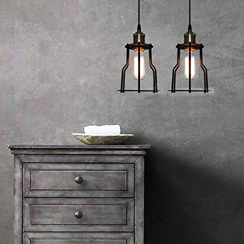 SUSUO Lighting Open Design Mini Cage Pendant Lighting Vintage Style Industrial Cage Lighting Fixture,Antique Brass Finish