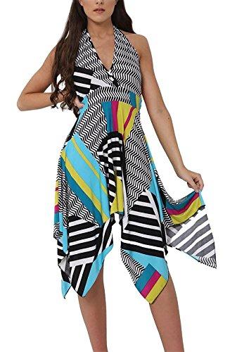 Unique Multicolore Manche Print Abstract Taille Sans Femme Imprimé Robe 21fashion wq1t0UXx