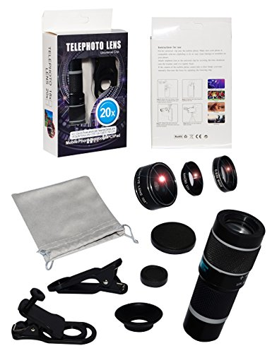5-in-1 phone lens, 20x telephoto lens, 0.63x wide-angle lens, macro lens, fisheye lens, eye mask, Telescope Camera Mobile Zoom lens compatible iPhone Samsung Galaxy Huawei and most Android smartphones by Bostionye (Image #9)