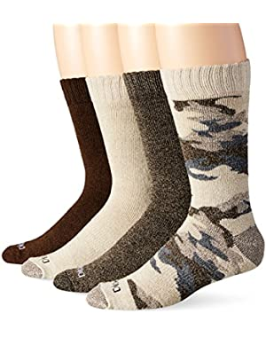Men's 4 Pack Camo and Marl All Season Moisture Control Crew Socks