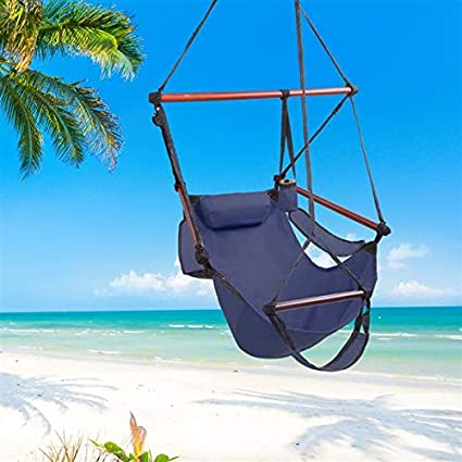 Hammock Hanging Chair Air Deluxe Sky Swing Outdoor Chair Solid Wood 250lbs Blue