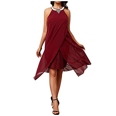 ANJUNIE Womens Chiffon Halter Dress Loose Sleeveless Round Neck Irregular Skirt Dress: Clothing