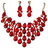 EVER FAITH Rhinestone Crystal Gorgeous Teardrop Statement Necklace Earrings Set Red Gold-Tone