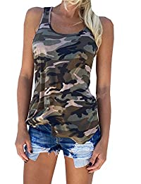 Tuesdays2 Women's Racerback Casual Stretch Camo Shirts Camouflage Tank Tops