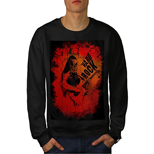 wellcoda Hard Rock Guitar Music Mens Sweatshirt, Dead Casual Jumper Black 7XL