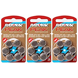 Hearing Amplifier Battery Rayovac PEAK Performance Size 675 (18 batteries)