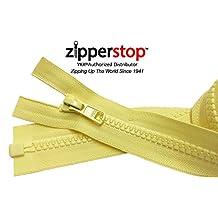 ZipperStop Distributor YKK® - 30 Inches Sport Vislon Jacket Zipper, YKK® #5 Molded Plastic Separating - Medium Weight Made in USA (Yellow Daisy #802)