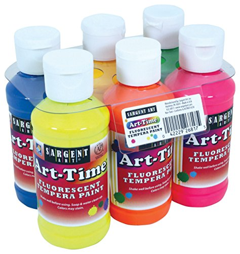 Sargent Art 22-6817 6 Pack 4oz Art-Time Fluorescent Tempera Paint Set -