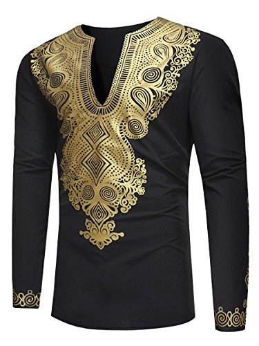 Bbalizko Mens Dashiki African Print V Neck Shirt Loose Tops Plus Size (XXX-Large, Black01) -