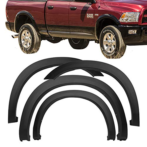 Fender Flares Fits 2010-2018 Dodge Ram 2500 3500 | Factory Style Matte Black Finish PP Injection Front Wheel Cover Protector Vent Trim by IKON MOTORSPORTS | ?2011 2012 2013 2014 2015 2016 2017
