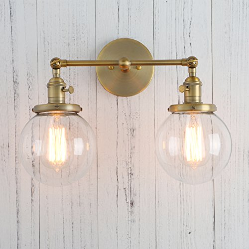 Permo Double Sconce Vintage Industrial Antique 2-Lights Wall Sconces with Dual Mini 5.9'' Round Clear Glass Globe Shade (Antique) by PERMO (Image #1)