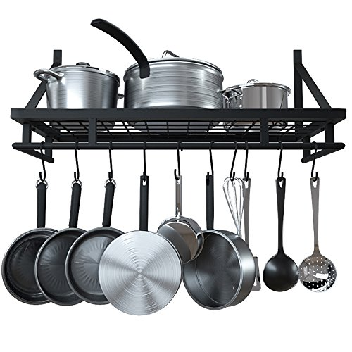 KES 24-Inch Kitchen Wall Mount Pot Pan Rack Wall Shelf With 10 Hooks Matte Black, KUR215S60-BK by Kes