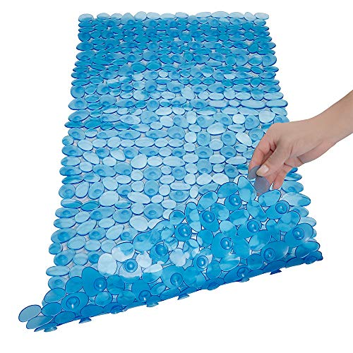 - SONGZIMING Pebble Bath Mat for Bathtub to Anti Slip Bathtub Mat in Shower with 16 Inches by 35 Inches (Clear Blue)