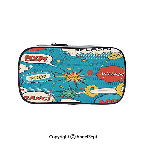 Cute Pencil Case - High Capacity,Pop Art Style Comic Speech Bubbles Funny Humor Expressions Boom Splash Bang Decorative Blue Cream Red 5.1inches,Multifunction Cosmetic Makeup Bag,Perfect Holder for P]()