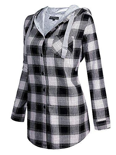 OMEYA.WANSHIDA.Womens Long Sleeve Button Up Plaid Flannel Hooded Jacket Shirt(3XL, Grey)