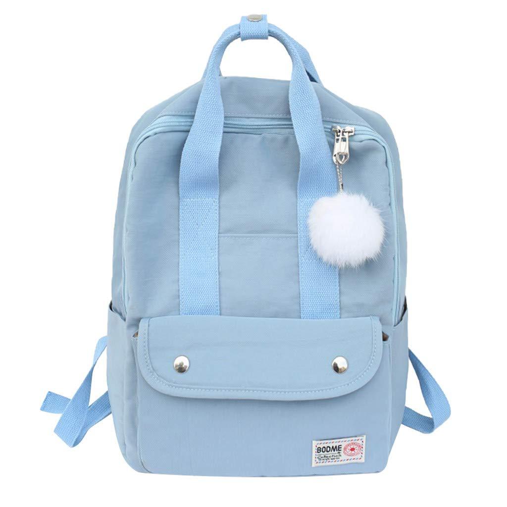Xlala Mens Womens Nylon Backpack Casual Zipper Waterproof Large Capacity Solid Color Schoolbag Single Shoulder Bags Laptop Packages Travel Packs Handbags (Blue) by Xlala