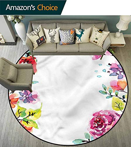 Watercolor Flower Area Rugs Ring 3D Non-Slip Rug,Summer Rose Motif Non-Slip No-Shedding Kitchen Soft Floor Mat Diameter-24 (Ring Rose Motif)