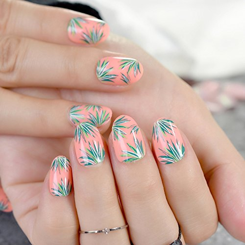 CoolNail Orange Oval Fake Nails 24Pcs Green Grass Full Cover False Nail faux ongle naturelle for Home Office ()
