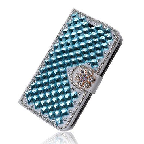 Lenovo A616 Funda, Lenovo A5800 Funda, Lifeturt [ mariposa de cristal ] Cubierta de la caja de cuero superior de la carpeta del libro para Lenovo A616 A5800 E02-34-cian diamante