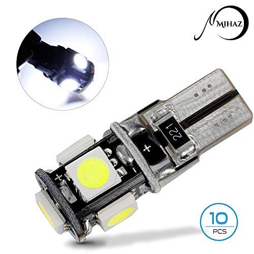 Price comparison product image T10 Led Light Bulbs Cars,  Leds Bulb Kit Mihaz Car Lighting Canbus Error Free 194 5050 168 5SMD W5W ,  Super White Light Pack of 10 (T10 Canbus)