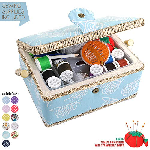 Great Features Of Large Sewing Box with Accessories Sewing Storage and Organizer with Complete Sewin...