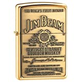 Jim Beam High Polish Brass Zippo Outdoor Indoor Windproof Lighter Free Custom Personalized Engraved Message Permanent Lifetime Engraving on Backside