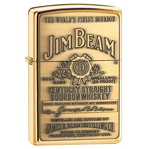 - Jim Beam High Polish Brass Zippo Outdoor Indoor Windproof Lighter Free Custom Personalized Engraved Message Permanent Lifetime Engraving on Backside