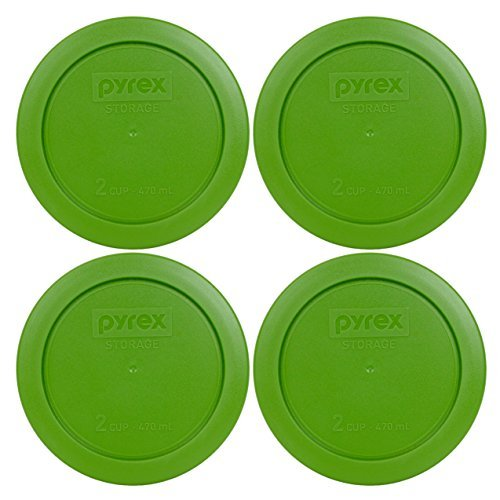 - Pyrex 7200-PC Round 2 Cup Storage Lid for Glass Bowls (4, Lawn Green)