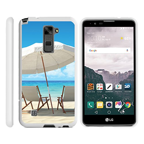 TurtleArmor   Compatible with LG Stylus 2 Case   LG G Stylo 2 Case [Slim Duo] Fitted Ultra Slim Hard Cover Rubberized Snap On Shell on White Beach - Ocean View